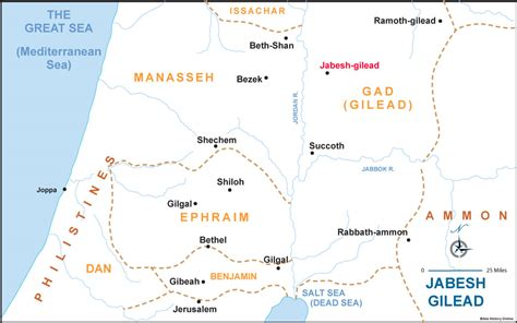Pin Jabesh Gilead Map On Pinterest