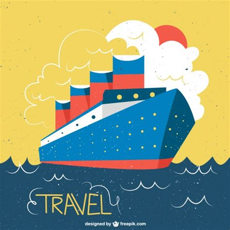 Ship Illustration by Ship In A Vintage Style Illustration Vector Free Download