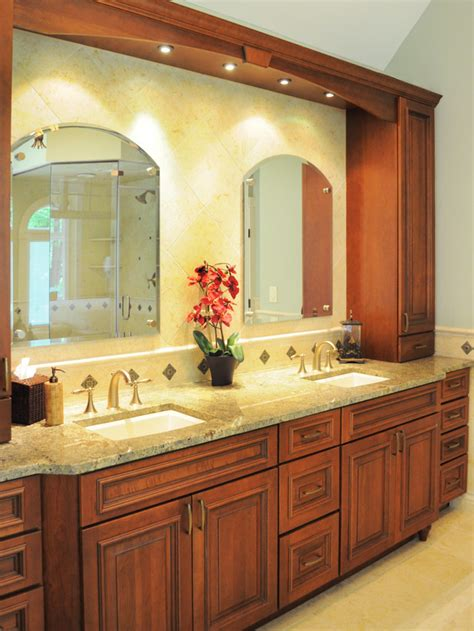 tuscan bathroom design traditional green double vanity bathroom with wood cabinetry hgtv