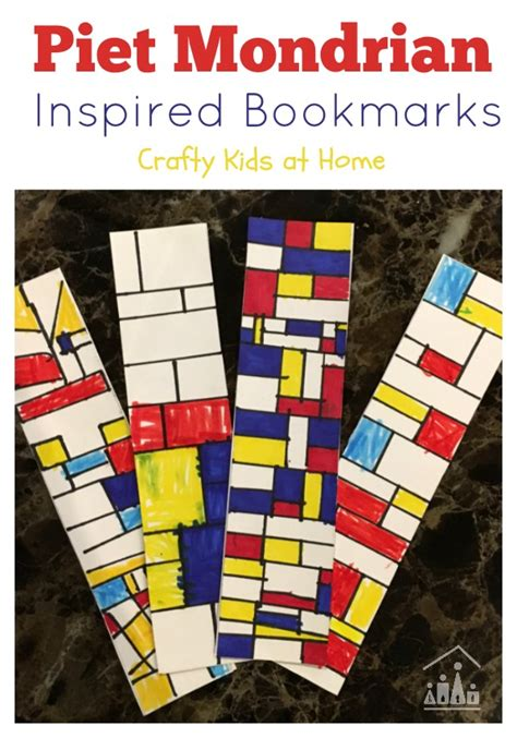 piet mondrian inspiration piet mondrian inspired bookmarks crafty at home