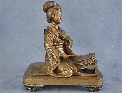 Antique Japanese Bronze Geisha Sculpture Meiji Period 19th C For Sale How To Clean Antique Metal Trunk Dresser With Mirror And Hat Box Cars In Palm Springs Telephones Western Electric Mantel Shelves Looking Nightstands Antiques Restoration Supplies Restoring Furniture Woodworm