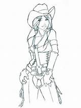 Coloring Pages Cowgirl Printable Coloringhit Recommended sketch template
