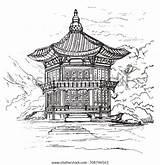Gyeongbokgung Hyangwonjeong Palace Korea Vector Pavilion sketch template