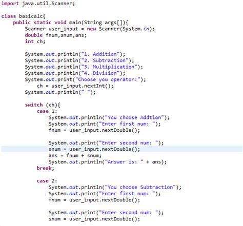 java code basic calculator  switch case ibegin java
