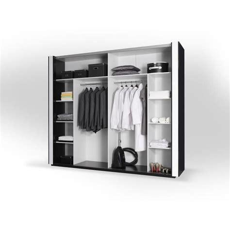 armoire de chambre à coucher armoire lina noir et blanche laquée tout équipée meuble