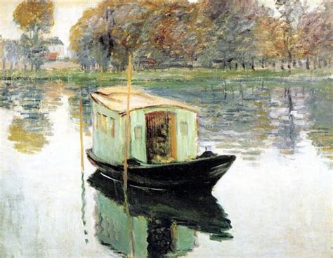 Manet Monet In His Studio Boat by The Studio Boat Claude Monet