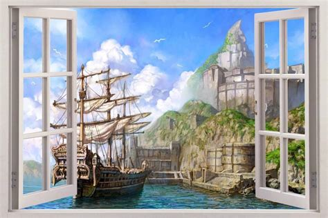 3d Window Ocean View Blue Sea Home Decor Wall Sticker: Fantasy Harbour 3D Window View Decal WALL STICKER Home