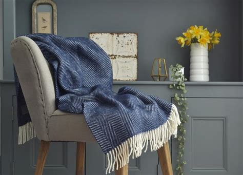 Navy Blue Herringbone Armchair Throw