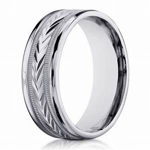 14K White Gold Designer Wedding Band For Men 6mm Width