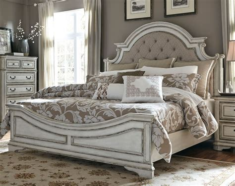 antique white traditional  piece king bedroom set