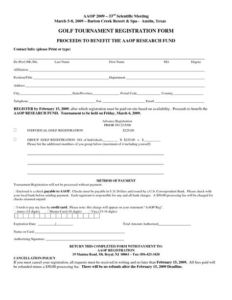 Tournament Application Form Template by Free Registration Form Template Golf Tournament