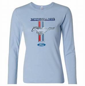 Ford Mustang Shirt Stripe Ladies Long Sleeve Tee T-Shirt - Ford Mustang Stripe Shirts