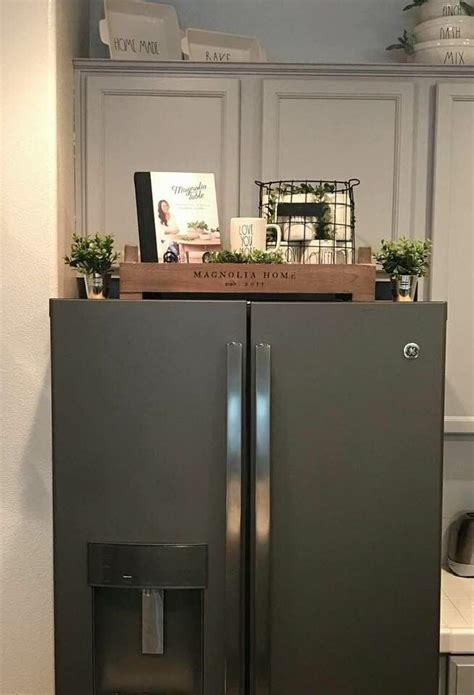 So i put together a few of those things today and i want to share them with you. Above refrigerator decor | Farmhouse kitchen decor, Fridge ...
