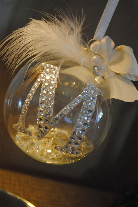 monogrammed ornament just a clear glass ornament with a