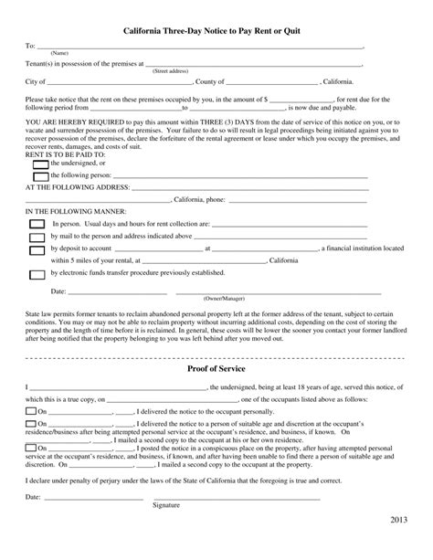 california  day notice  quit form  payment  rent