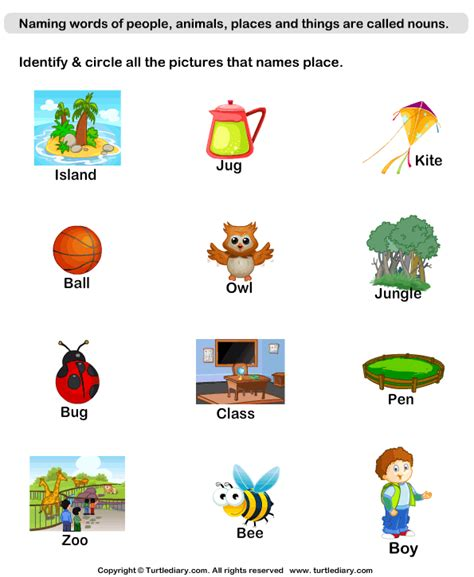 Naming Place Nouns Worksheet  Turtle Diary