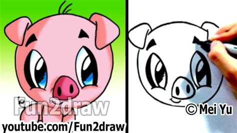 draw  cartoon pig   min cute animal