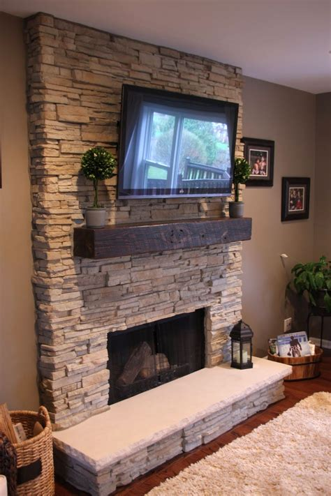 stacked for fireplace stack stone fireplaces with plasma tv mounted