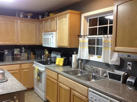 Grey And Yellow Kitchen.