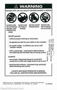 2008 Arctic Cat 366 Atv Owners Manual