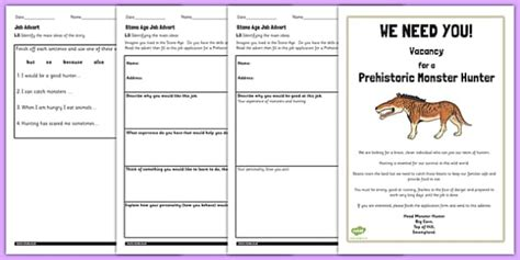 stone age job advert worksheets  support