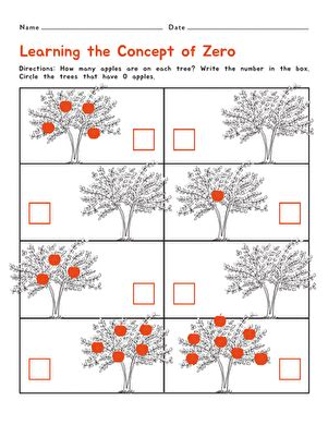 learning the concept of zero worksheet education com