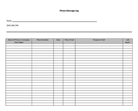 phone log template 10 sle phone message templates pdf word excel sle templates