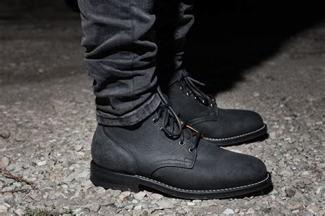 Black Boots : Viberg Service Boot In Black Moose Leather In Gray