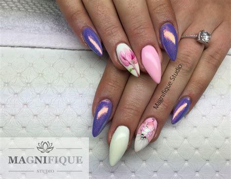 nageldesign rosa rosa lila nails n 228 gel magnolien kleid gemalt paznokcie marmaideffekt effekt syrenki