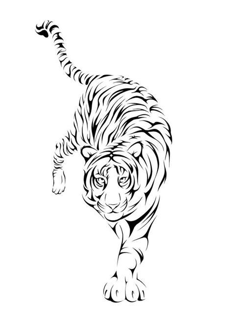 Chinese Tribal Walking Tiger Tattoo Design