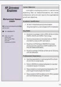 resume of network test engineer rf drive test engineer resume