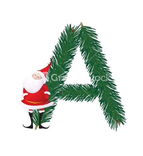 decorative christmas letters decorative fir tree abc with santas letter a vector stock image