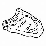 Steak Raw Coloring Beef Slice sketch template