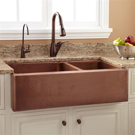 apron front sink 36 quot tegan 70 30 offset bowl copper farmhouse sink