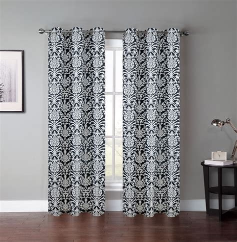 Black And Curtain Panels by Pair Of Atlantis Black White Window Curtain Panels W Grommets