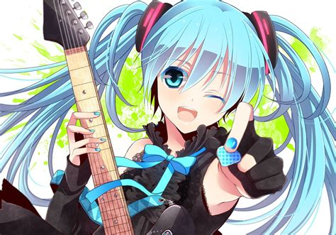 Anime Guitar Wallpaper - anime anime guitar blue hair vocaloid hatsune