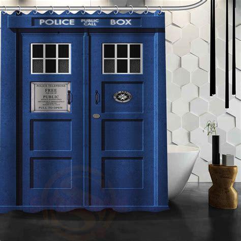 Custom Doctor Who Police Box Shower Curtain Bath Novelty
