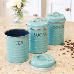 coffee themed kitchen canisters vintage blue tea coffee sugar canister set by dibor