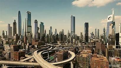 Future Skyline Cities Skylines Cityscape Wallpapers Dystopian