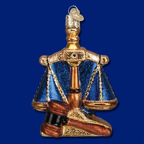 lawyer scales of justice glass ornament by old world