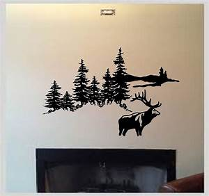 Deer elk hunting mountain scene outdoors vinyl wall decal for Hunting wall decals