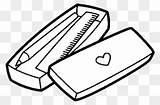Pencil Case Coloring Clipart Ruler Sharpener Transparent sketch template