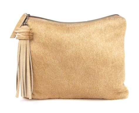 Calf Hair Clutch Brown Leather Bag Brazilian Cowhide