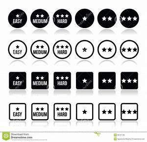 Easy, Medium, Hard Level With Stars Icons Set Royalty Free ...