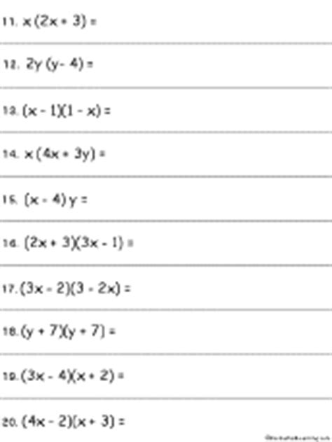 algebra multiplying polynomials worksheet 2 printout