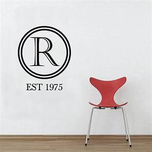 monogram letter wall sticker removable custom decal quote With wall decals letters removable
