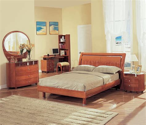 69 emy bedroom set in cherry high gloss by global