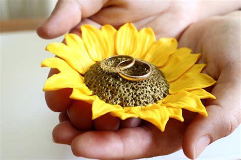 yellow sunflower ring dish holder ring bearer wedding