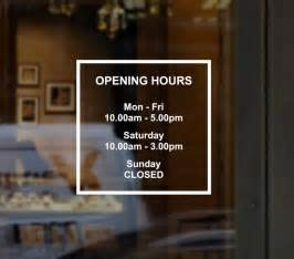custom business opening hours times sign windows sticker decal for shop bar pub cafe barber