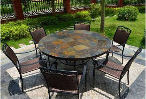 oceane 63 quot mosaic slate garden patio table